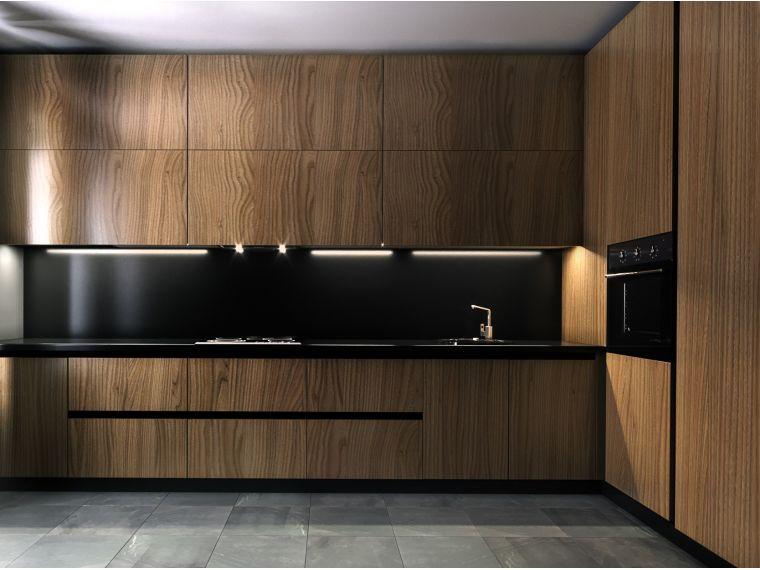 Фото фасада угловой кухни из шпона Oskar 8