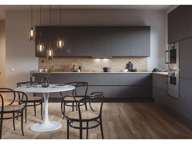 Кухня из Fenix Savanna 2 угловая со столом изготовленная под заказ