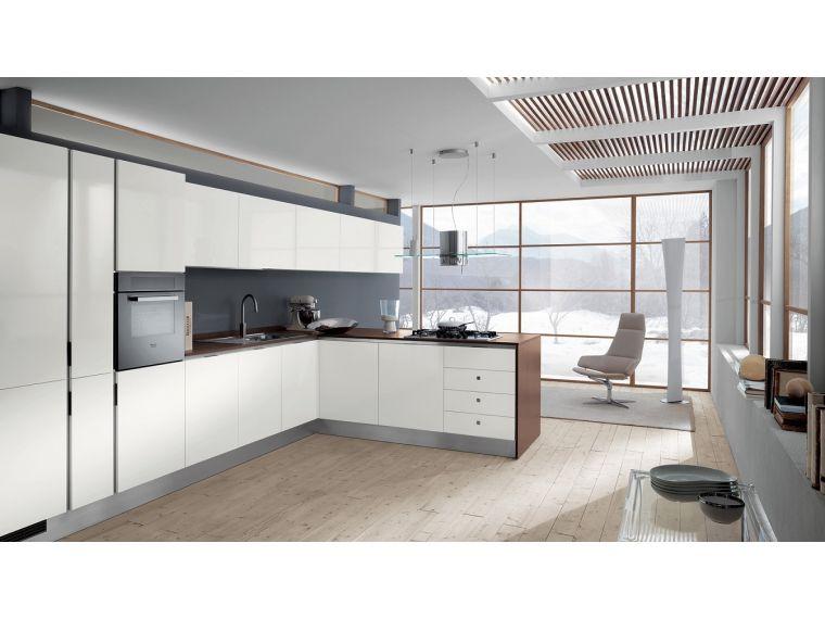 Кухня угловая белая из Fenix Savanna 24