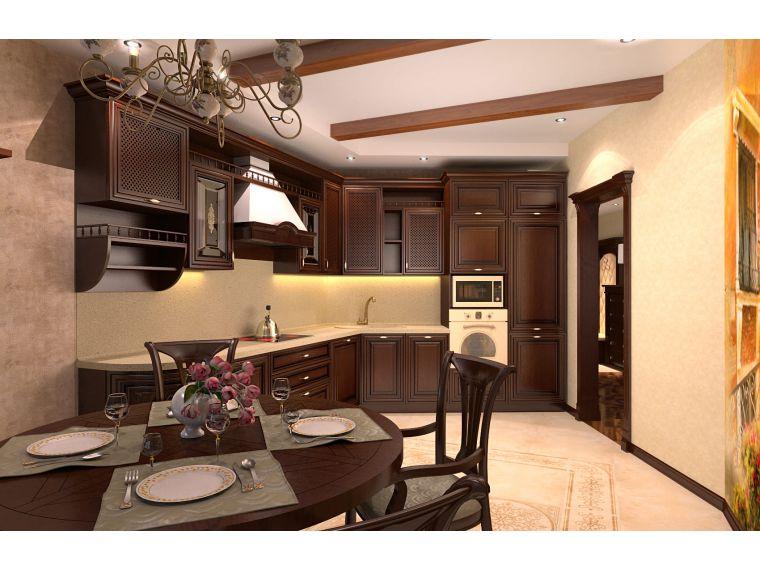 Угловая кухня из массива Tiffany 23 сделанная под заказ